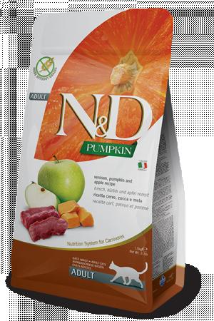 FARMINA N&D NATURAL & DELICIOUS Cat Grain Free Venison, Pumpkin & Apple - sausā barība kaķiem 5kg